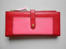 NWT Fossil Keely Tab Clutch Wallet  Genuine Leather Red Pink