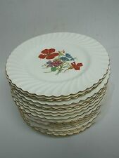 18 MINTON DINNER PLATES with HAND PAINTED FLOWERS ALL SIGNED CRESSER & COLELOUGH