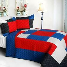 3 PC Crazy Boxes A red white blue pattern 100% Cotton Queen Quilt Shams
