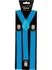ELASTIC Blue BRACES MENS LADIES 2.5CM WIDE Slim FANCY DRESS SUSPENDERS