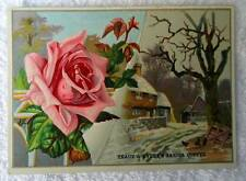 VINTAGE TRACY & AVERYS SARICA COFFEE TRADE CARD PINK ROSE BARN YARD #ve8