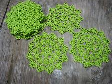 """dozen(12 psc) Hand Crochet Doilies 6"""" Green  Vintage Lace Party Craft Motifs"""
