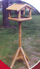 Premium Deluxe Wooden Bird Table With Built In Nut Feeder Free Standing
