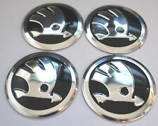 SKODA Wheel Hub Caps Badge Emblem Stickers METAL 56.5mm Set 4 HIGH QUALITY