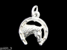 Horsehead in Horseshoe charm Sterling silver 925 charmmakers