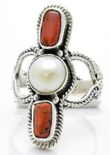 Red Coral, Pearl Ring Solid 925 Sterling Silver Jewelry Size 7.5 IR25882