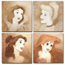 "Home decor 4 PC Disney princess Drawing oil painting print on canvas 10""x10"""
