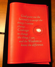"Alcoholics Anonymous AA Big Book Serenity Prayer Medallion Holder Red ""COVER"""