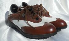 Vintage ADIDAS Leather Traditional Golf Shoes - Art No 088404 sz 9 Brown & White