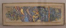 Vintage Arup Das modern abstract India street scene w/ figures o/c painting