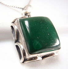 Malachite Cabochon 925 Sterling Silver Necklace Rope Style Accents