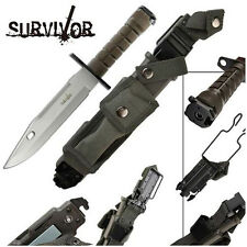 Military Bayonet Fixed Blade Survivor Special Ops Rugged Tactical Knife Silver