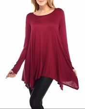 Womens Dolman Top Shirt Long Sleeve Scoop Neck Asymmetrical Tunic USA SML PLUS