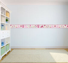 Owls Design Children's Bedroom Self Adhesive Wallpaper Border Girls Nursery