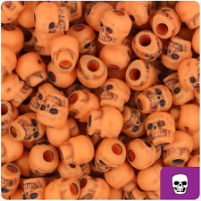150 Orange Antique 11mm Halloween Skull Pony Beads Made in the USA