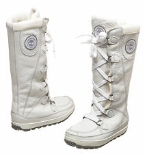 Timberland White Leather Lace Up Apres Ski Boots (Size 8)