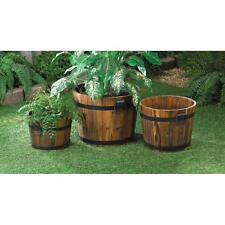 COUNTRY WOOD APPLE BARREL  PLANTER POT BUCKET GARDEN YARD DECOR~15114