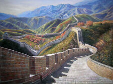 Oil painting beautiful art World's top ten wonders Chinese Great Wall canvas