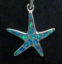 "Vintage Sterling Created Opal Inlay Starfish Sea Star Pendant + 19"" Box Chain"