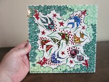 Hand painted pottery tile. Angel fish. Ephesus Ceramic. Turkey. REPAIRED