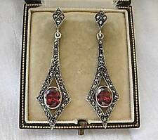 Stylish Deco Design Garnet CZ & Marcasite Silver Drop Earrings