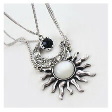 Retro Gold/Silver Crescent Moon And Sun Gem Pendants Necklace Multi Layers Charm