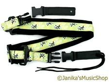 Guitar strap electric acoustic new black with green yellow band quick release