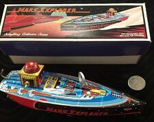 Schylling Mars Explorer Tin Speed Boat wind-up Toy with Stand Complete In Box
