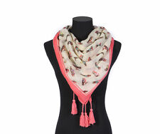 LADIES Square SCARF Pink Cream BIRD Print Tassel Light Weight Gifts