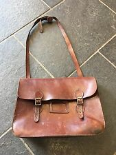 Large Vintage Brown Leather Old School College University Satchel Bag