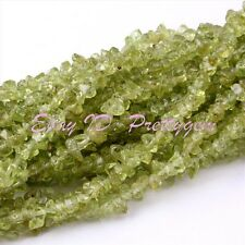 3-4mm Natural Freeform Shape Green Peridot Chips Gemstone Loose Beads Strand 34""