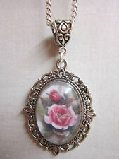 Pink Rose Vintage  glass cabochon pendant charm necklace oval antique silver