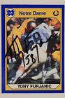 TONY FURJANIC Notre Dame Bills Dolphins Autographed Signed Football Card 16E