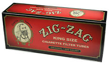 5 (Five) Zig-Zag FF Red  KS Cigarette Tobacco Tubes (200ct Carton) RYO/MYO