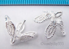 2x STERLING SILVER CZ CRYSTAL FLOWER PENDANT CLASP PEARL BAIL PIN 13.2mm #1949