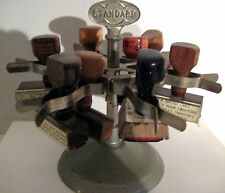Vintage Midcentury STANDARD Rubber Stamp Holder Carousel Office Supply Holds 6