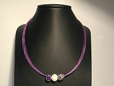 Nuevo - Collar Necklace PURPLE with PEARL, Purple Swarovski and Silver