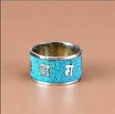 Wide Tibetan Turquoise Gemstone Inlaid Carved Spaced OM Mani Padme Hum Ring