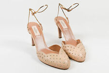 Valentino Garavani Beige Nude Leather Gold Tone Studded Ankle Wrap Pumps SZ 40