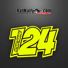 "RACE NUMBERS NAME DECALS STICKERS TRACK GRAPHICS - RATMALLY ""POW-NEON""(x4)"