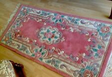 Pretty Pink Chinese Style Aubusson Wool Rug 150 X 75 Cms