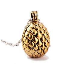 Game of Thrones Daenery's Dragon Egg Pendant Necklace Antique Golden Tone