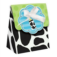BABY SHOWER Cow Print Boy FAVOR BOXES (12) ~ Party Supplies Treat Loot Goody