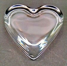 VINTAGE HEART SHAPED CLEAR GLASS PAPERWEIGHT FOR PICTURES, POSTCARDS, SMALL ART