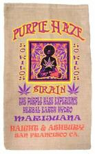 PURPLE HAZE BURLAP BAG #25 feed bags gunny sack novelty marajuana pot leaf decor