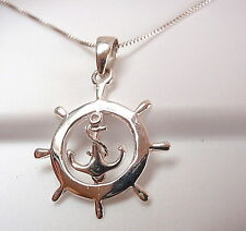 Boat Wheel and Anchor Dangle Pendant 925 Sterling Silver Corona Sun Jewelry