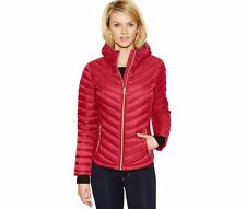 Michael Kors Chevron Packable Quilted Hooded Down Puffer Jacket Coat XL Red