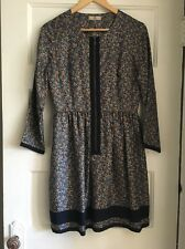 Orla Kiely blue floral zip silk dress Leith Clark Size 6 Small Anthropologie