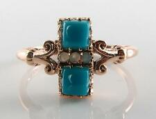 DIVINE 9K ROSE GOLD DECO INS PERSIAN TURQUOISE & OPAL RING