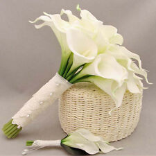 Calla Lily Bridal Wedding Bouquet 15 Heads Latex Real Touch Flower Bouquets